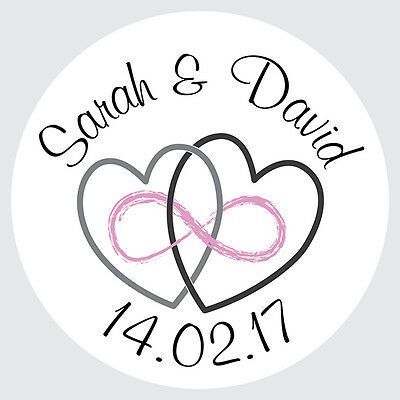 75 Personalised Round Wedding Heart Eternity Favour Envelope Seal Sticker Label