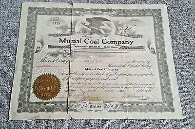 Mutual Coal Company Utah Old 1920s Stock Certificate Antique Cheap Rare Currency