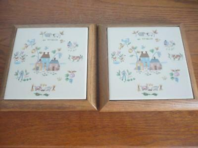 """Pair Of Beautiful Antique Home Sweet Home Tile Wall Art 71/2""""X71/2"""" Very Unique"""