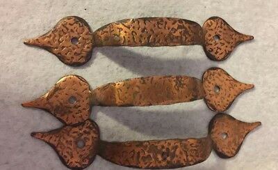 HAMMERED Copper CABINET PULLS COPPER DRAWER HANDLES 3 Pulls