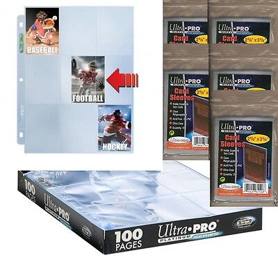 50 x 9-Pocket Platinum Side Load Pages + 500 Soft Sleeves(Ultra.Pro/P.Safe/LaTCG