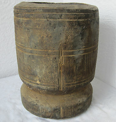 "10""  Antique  primitive HAND CARVED  big  wooden mortar  7.6 lbs"