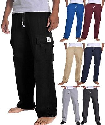 c57684e777 PROCLUB Mens CARGO LONG SWEATPANTS Fleece Pants Heavy Weight Gym Work Out