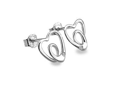 Lily & Lotty 925 Sterling Silver Real Diamonds Scroll Heart Earrings Gift Boxed