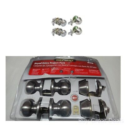 Entry Door Lock Knob Deadbolt Cylinder Exterior Knobs Nickel Satin Security Sets