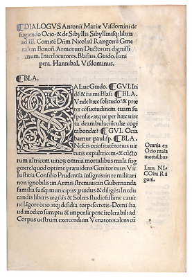 Incunabula - Visdominus Latin Poetry - Bologna 1500 - Only Copy in Private Hands