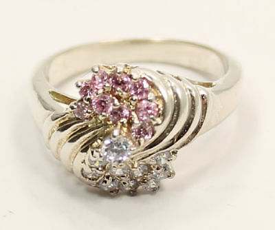 Pretty Pink & Colorless CZ Cluster Gemstone  Estate Ring in .925 Silver