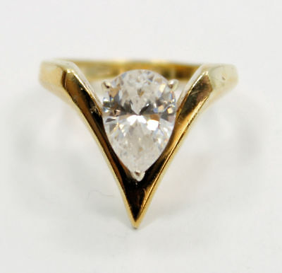 Attractive  Gold Plated Pear CZ Gemstone  Estate Ring in .925 Silver