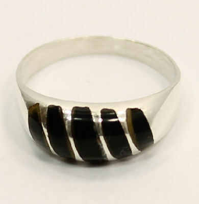 """Classical  5 Band  """"Onyx""""  Estate Ring in .925 Silver"""