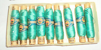 Antique Vintage Mez Progress Thread 9pc New Unused in Box Teal Green Germany Old