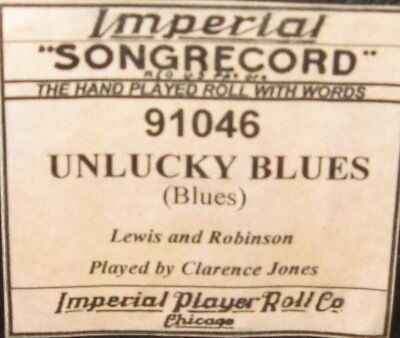 Unlucky Blues Played By Clarence Jones Recut Piano Roll 0917
