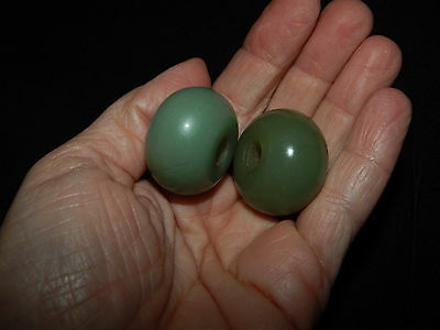 Authentic Pre-Columbian Round Jade Beads, Very Large and Rare Beads