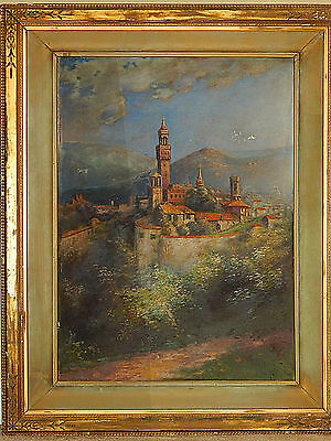 Antique Oil on Canvas, Castle Painting, Late 1800's, Large Oversized
