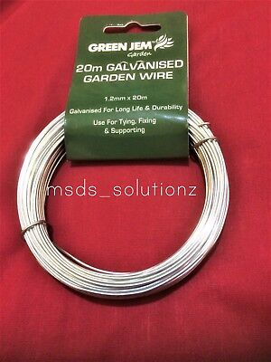 20M Durable Galvanised Garden Wire For Tying Fixing Supporting Plants Shrubs