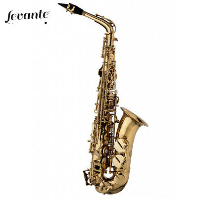 NEW Levante LV-AS4105 Alto Pro Series Saxophone Gold Laquer + Case, Cleaning Kit