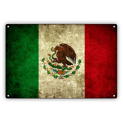 MEXICO FLAG Mexican Vintage Look Aluminum Metal Decor Wall Art