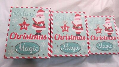 Believe in Christmas Magic Nesting Gift Boxes Set of 3 Teal Wave Snowflakes