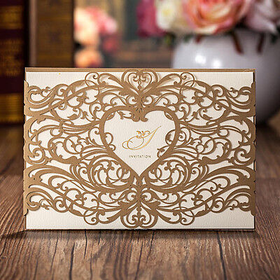 CW5018, Dark Gold Laser Cut Heart and Flowers Wedding Invitations Cards
