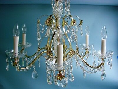 Vintage Fancy Crystal Droplet Prism 6 Arm Hanging Brass Chandelier Light Fixture
