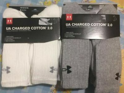 new 6 Pairs Under Armour Men's Charged Cotton 2.0 Crew Socks variety