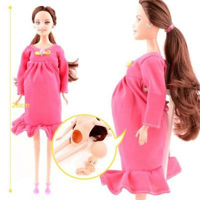 Cute Pregnant Doll Mom Doll Have A Baby In Her Tummy With Shoes For Barbie FW