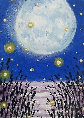 ACEO Original Painting Art Full Moon Firefly Summer Night Landscape Collectible