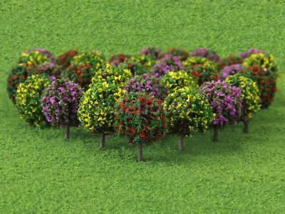 Mix 50pcs 3 Colours 35mm N Z GAUGE SCALE FLOWER FRUIT TREES SHRUBS