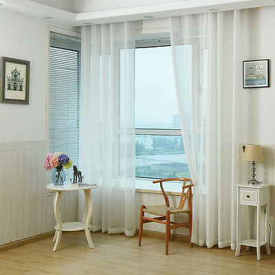 Solid White Sheer Tulle Rod Pocket Linen Voile Decorative Window Curtain 1 Piece