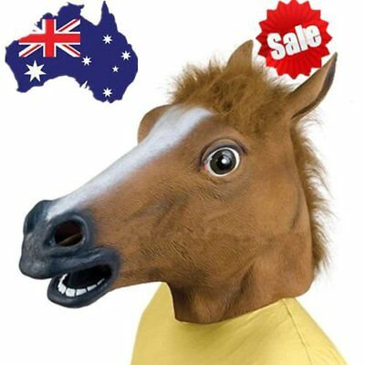 Cosplay Halloween Horse Head Mask Latex Animal Party Costume Prop Toy Novel FG