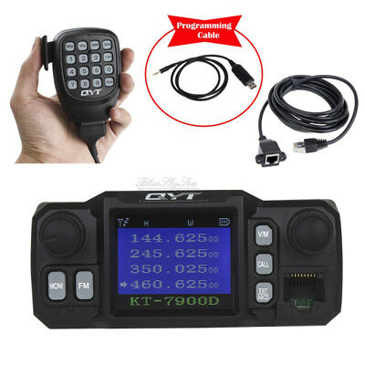 Mini Size 200ch KT-8900D Mobile Radio Walkie Talkie VHF 25W UHF 20W+Cable LOCAL