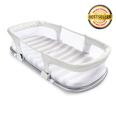 Baby Delight Snuggle Nest Surround XL Portable Infant Sleeping Bed Silver Clouds