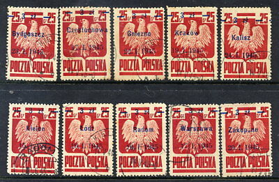 POLAND 1945 Liberation of Polish Cities set of 10, used