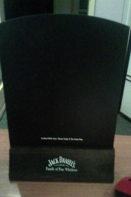 jack daniels family of fine whiskeys table stand (maybe small chalk board)