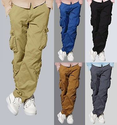 ef282dc2cd Mens Match Cargo Pants Solid Military Army Combat Style Cotton Workwear  Trousers