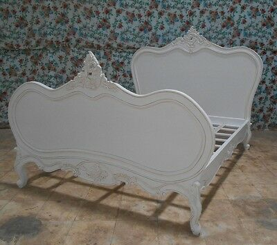 White Mahogany Louis XV Vintage Style French Bed (Double, King, Superking)
