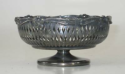 Art Nouveau Ribbon Silverplate Footed Bowl, Perced Baskit Celtic Knot, Victorain