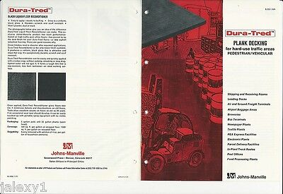 1975 JOHNS-MANVILLE Dura-Tred Plank Decking Bldg Matl ASBESTOS Transite Catalog