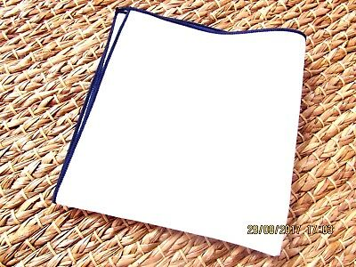 Cotton  Pocket Square Handkerchief Off White Ivory With Navy Edge Mods Wedding