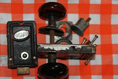 Antique Black/Brown Porcelain Door Knob Lock Set Old Vintage Hardware