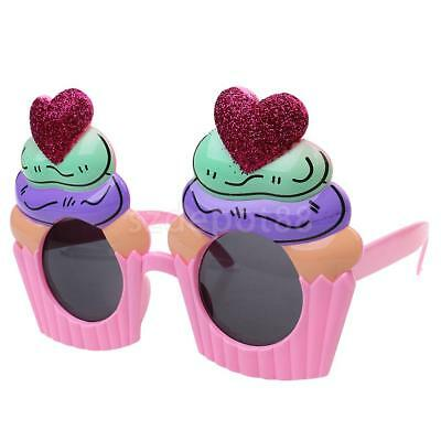 Novelty Glitter Heart Cupcake Sunglasses Glasses Fancy Dress Party Hen Stag