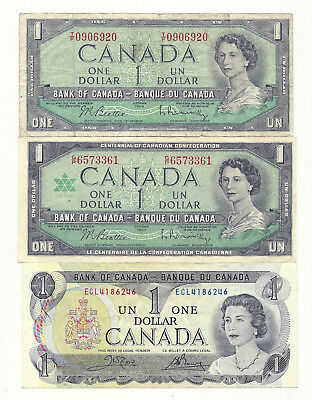 3 x CANADA ONE DOLLAR BANK NOTES (1954, 1967 and 1973)