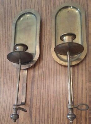 Vintage - Pair Of 2 Solid Brass Wall Candle Holders / Sconces