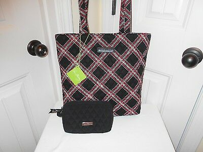 Vera Bradley New With Tags Minsk Plaid/small Black Microfiber Cosmetic Free Ship