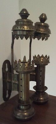 Vintage Brass Candle Sconce Pair Wall Mount Lamp Light Lantern