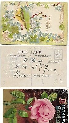 Used vintage cards - Happy Birthday to three (3 card lot) ... Rose card amazing
