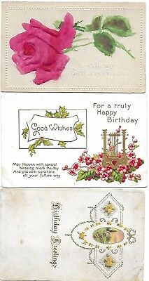 Used Happy Bday vintage cards - super nice  (3 card lot) ... Rose pretty in pink