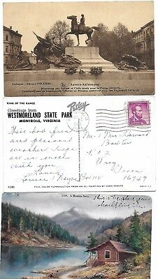 Horse and mountain cabin Used vintage cards - Country lot (3 card lot)