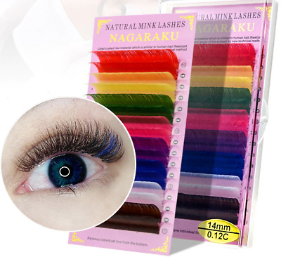 Rainbow Colored Eyelash Extensions 16 Rows 8 Colors Faux Mink Color Eyelashes
