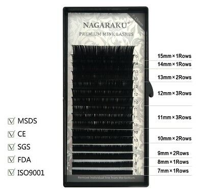 Faux Synthetic Mink Individual Eyelash Extensions 16 Rows 7-15mm Mix Fake Lashes