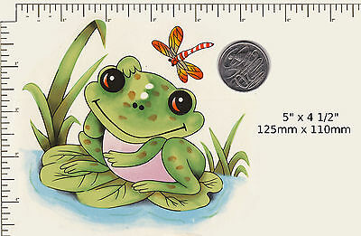 "1 x Ceramic decal Decoupage Frog Lily Pad Dragonfly Nursery 5"" x 4 1/2"" PD80a"